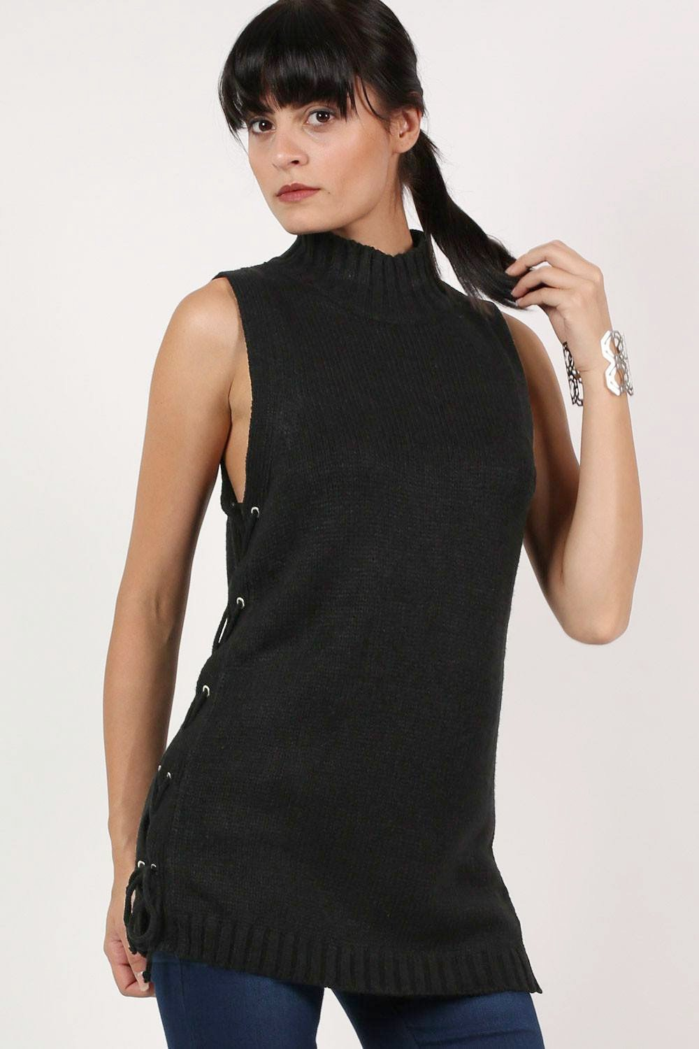 High Neck Lace Up Sleeveless Knitted Tunic Jumper in Black 0