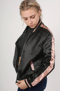 Embroidered Satin Bomber Jacket in Black 1