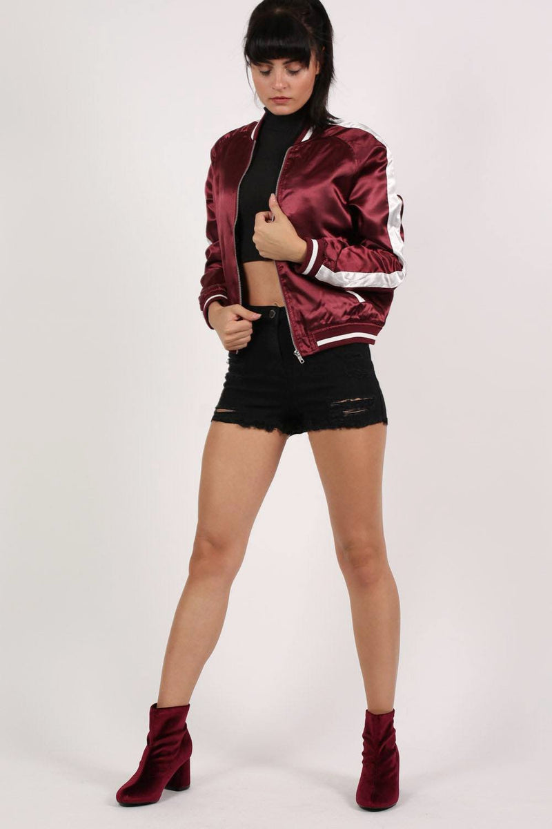 Embroidered Satin Bomber Jacket in Wine Red 5