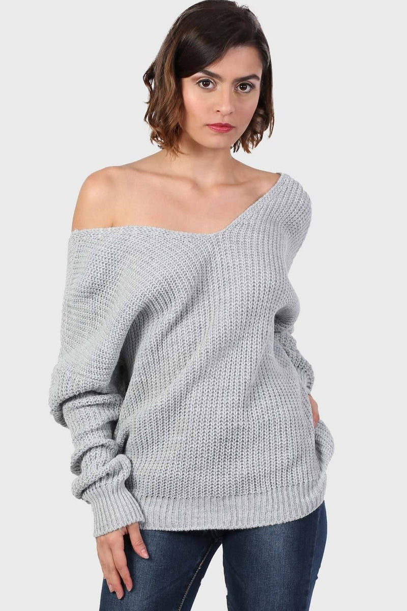 Long Sleeve Chunky Knit Jumper With Knot Back Detail in Light Grey 1
