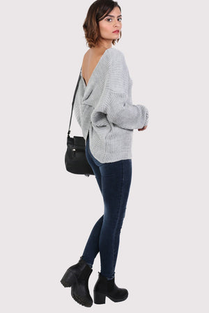 Long Sleeve Chunky Knit Jumper With Knot Back Detail in Light Grey 3