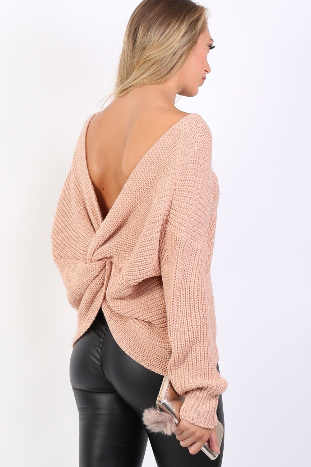 Long Sleeve Chunky Knit Jumper With Knot Back Detail in Rose Pink 0