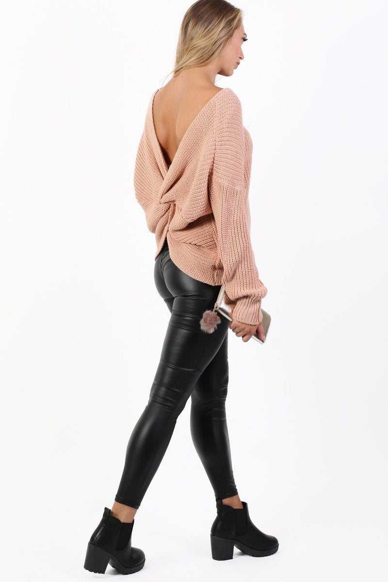 Long Sleeve Chunky Knit Jumper With Knot Back Detail in Rose Pink 3
