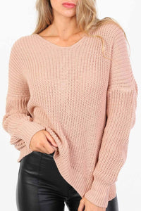 Long Sleeve Chunky Knit Jumper With Knot Back Detail in Rose Pink 4