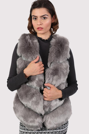Faux Fur Gilet in Grey 0