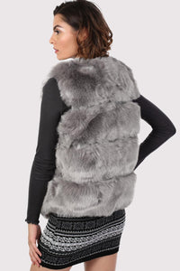 Faux Fur Gilet in Grey 1