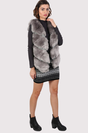 Faux Fur Gilet in Grey 2