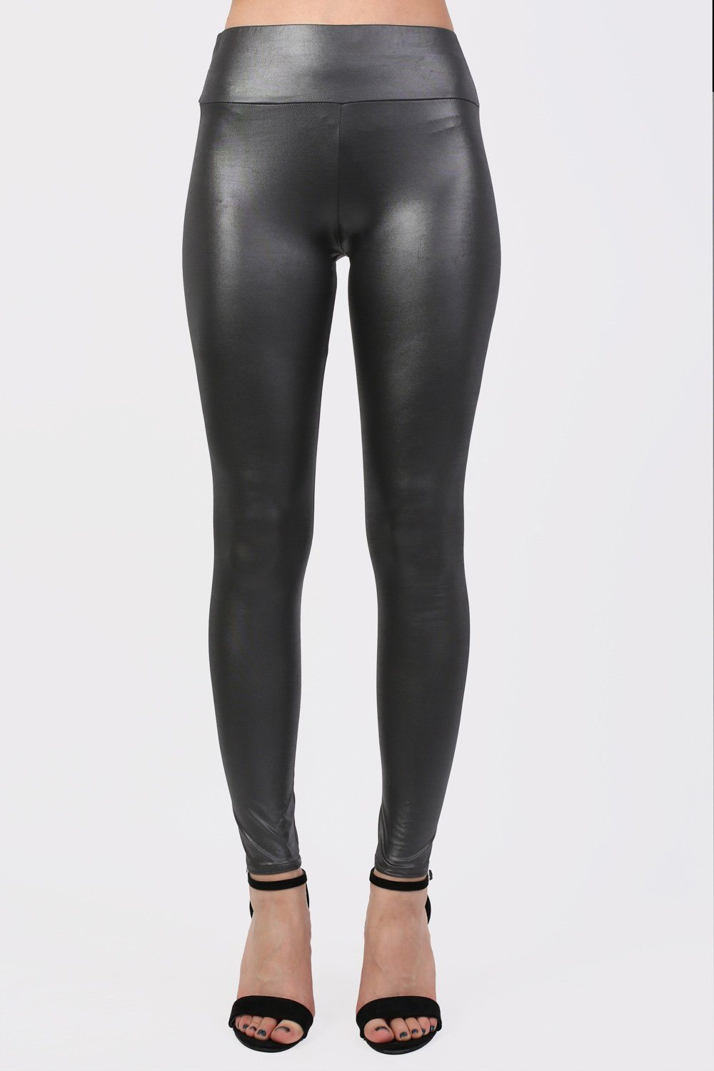 High Waist PU Leggings in Black 0