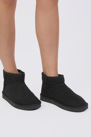 Faux Suede Flat Ankle Boots in Black 0