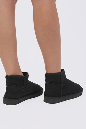 Faux Suede Flat Ankle Boots in Black 2