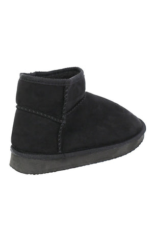 Faux Suede Flat Ankle Boots in Black 5