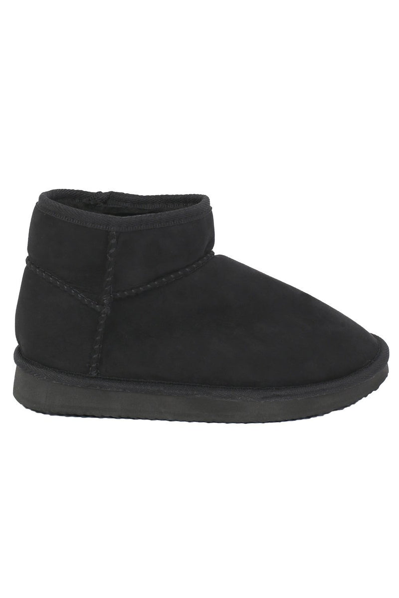 Faux Suede Flat Ankle Boots in Black 4