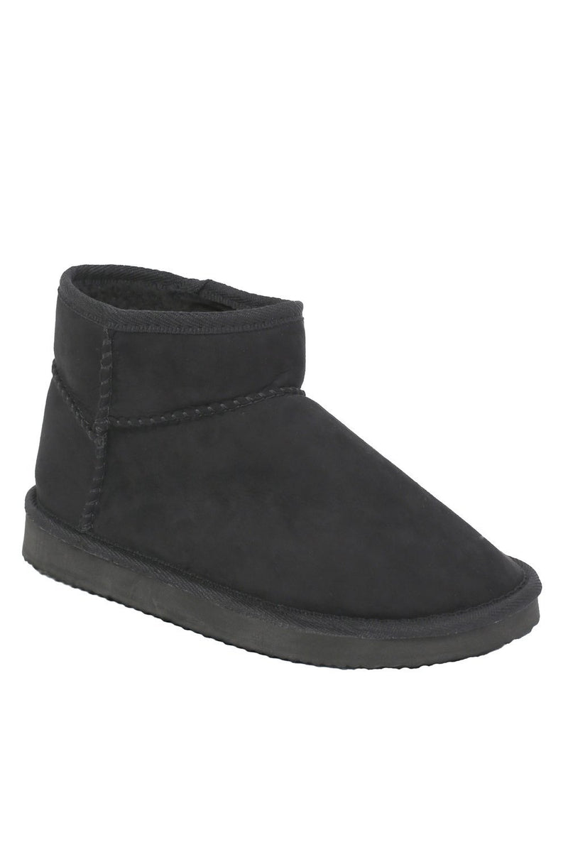 Faux Suede Flat Ankle Boots in Black 3