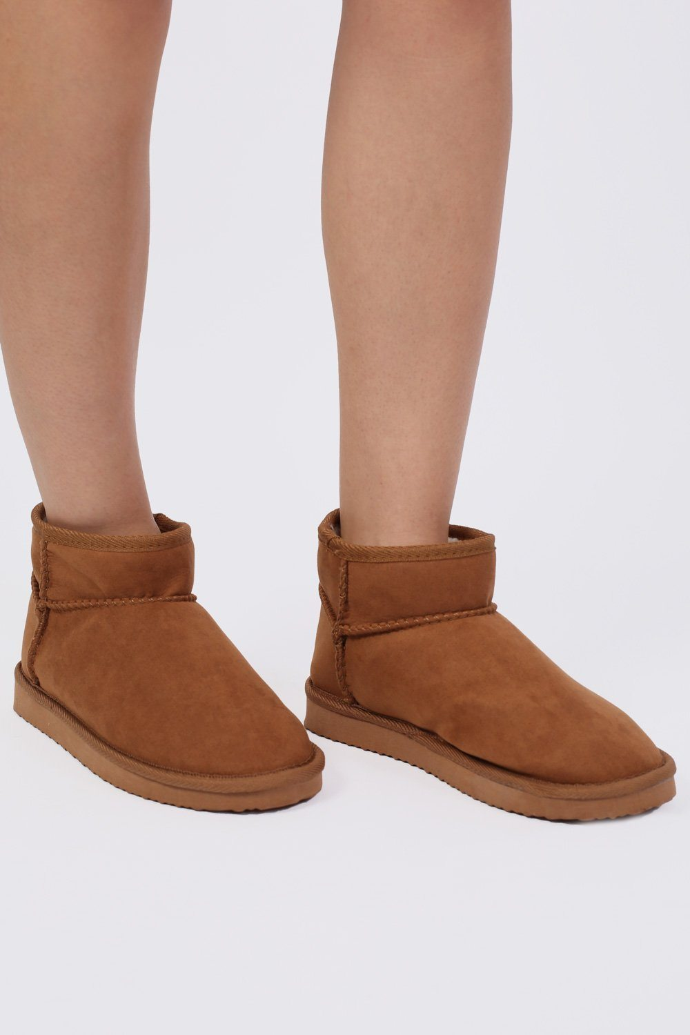 Faux Suede Flat Ankle Boots in Tan Brown 0
