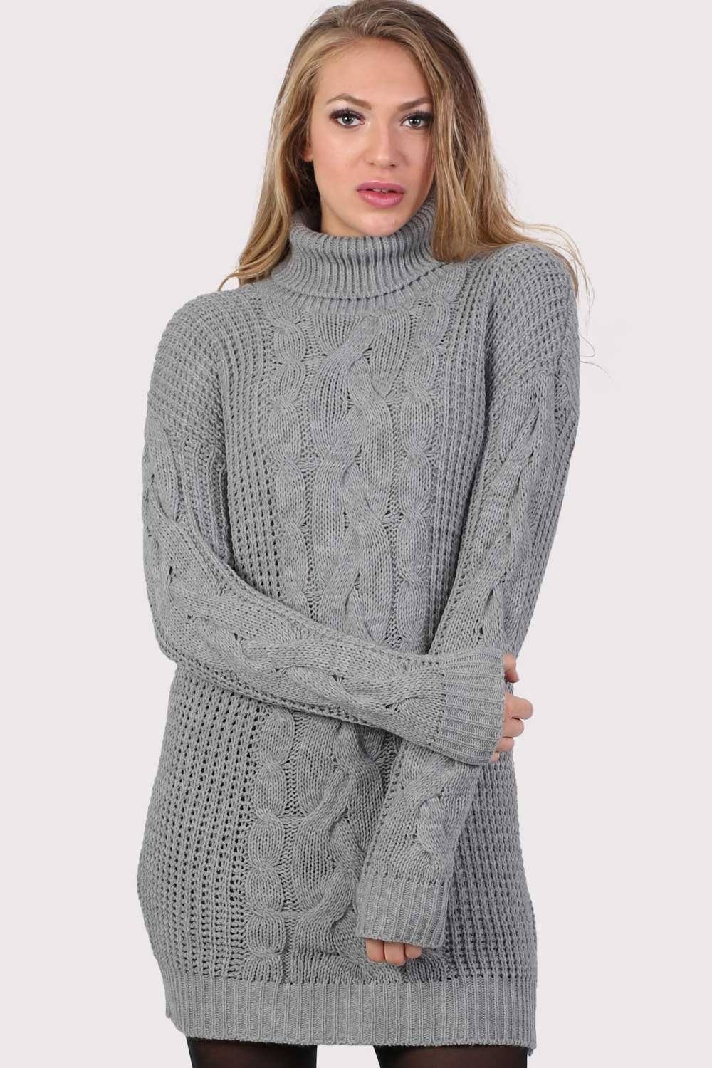 Cable Knit Long Sleeve Roll Neck Jumper Dress in Light Grey 0