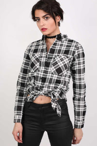 Check Flannel Long Sleeve Shirt in Black 0