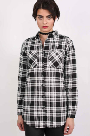 Check Flannel Long Sleeve Shirt in Black 1