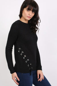 Knitted Rib Jumper With Lace Up Side Detail in Black 0