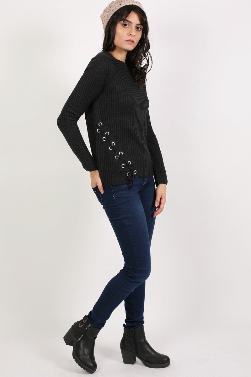 Knitted Rib Jumper With Lace Up Side Detail in Black 4