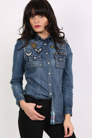 Badge Detail Long Sleeve Denim Shirt 0