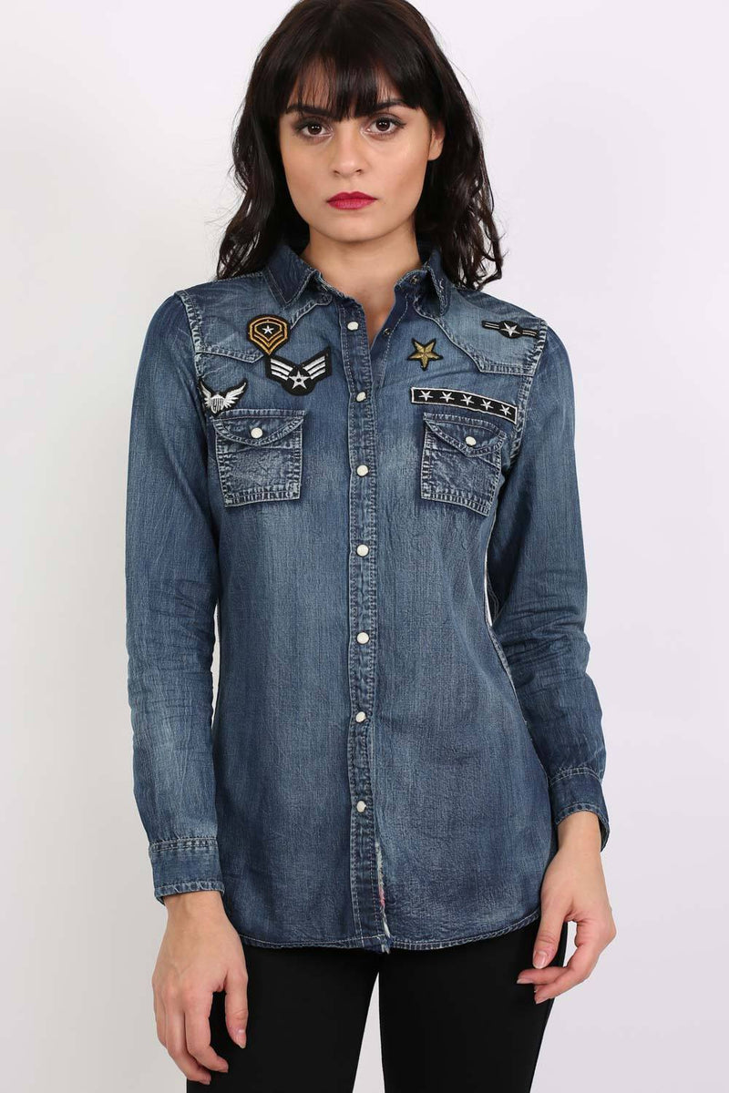 Badge Detail Long Sleeve Denim Shirt 1