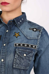 Badge Detail Long Sleeve Denim Shirt 2