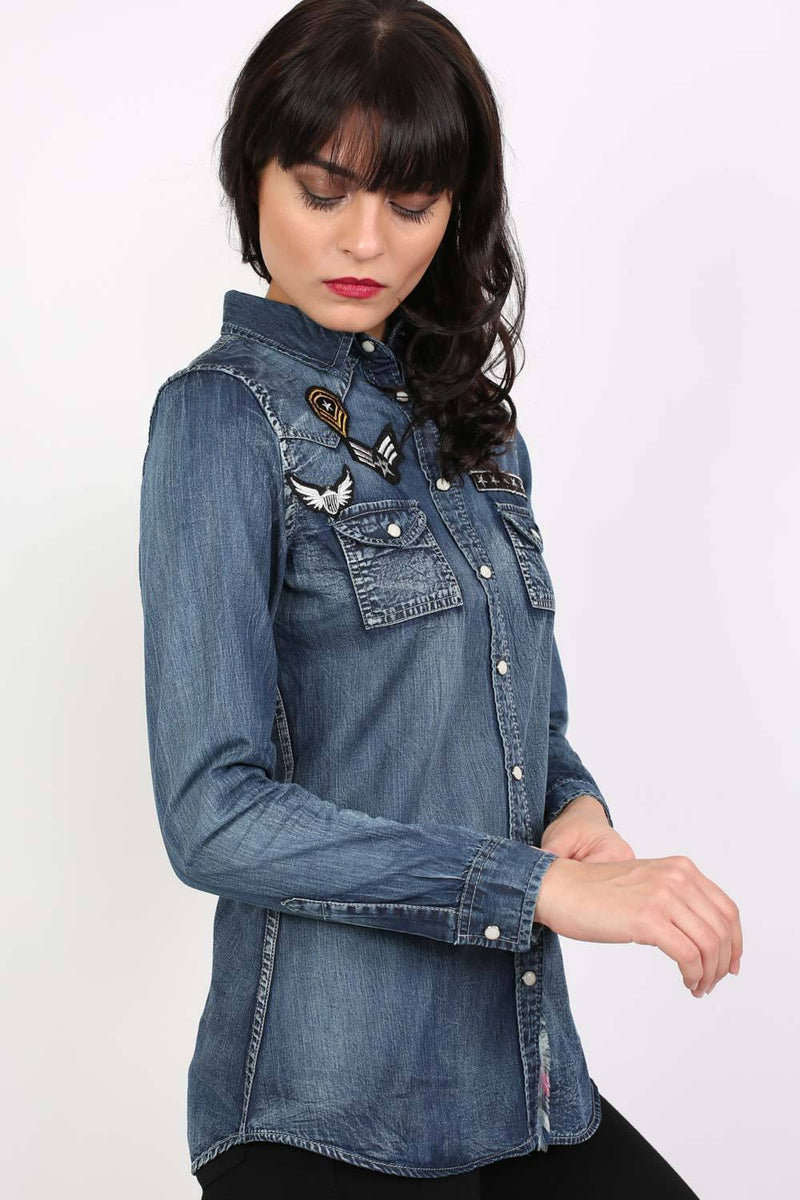 Badge Detail Long Sleeve Denim Shirt 3