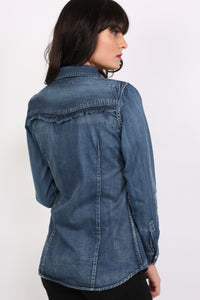 Badge Detail Long Sleeve Denim Shirt 4