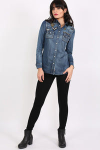Badge Detail Long Sleeve Denim Shirt 5
