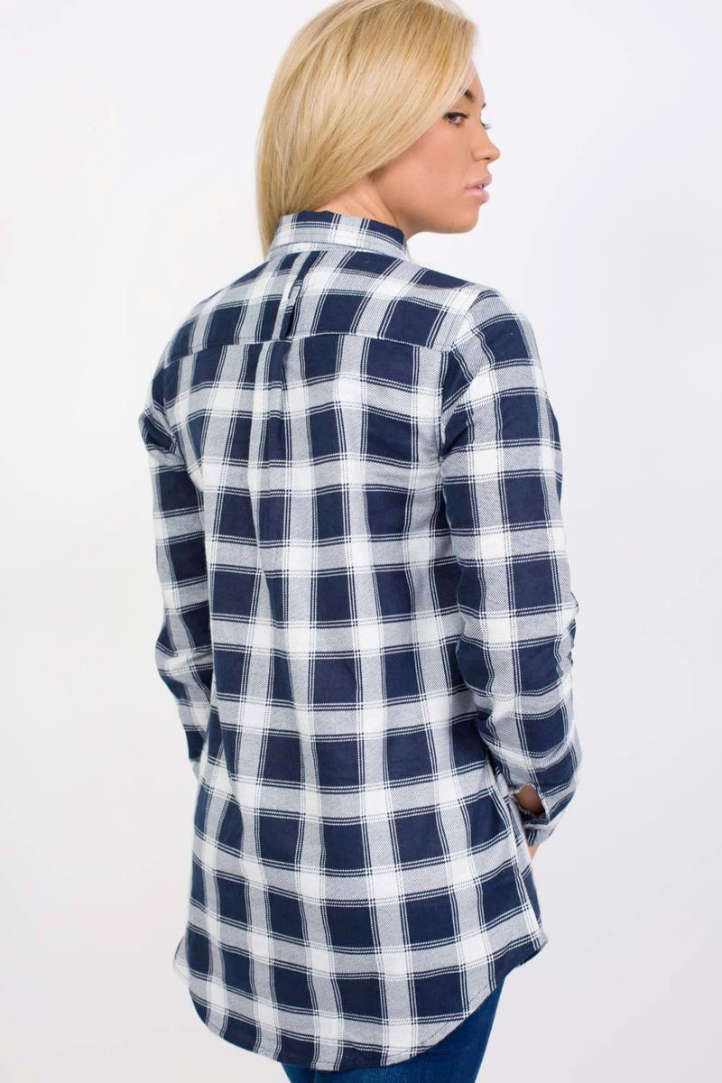 Brushed Check Shirt in Navy Blue 1