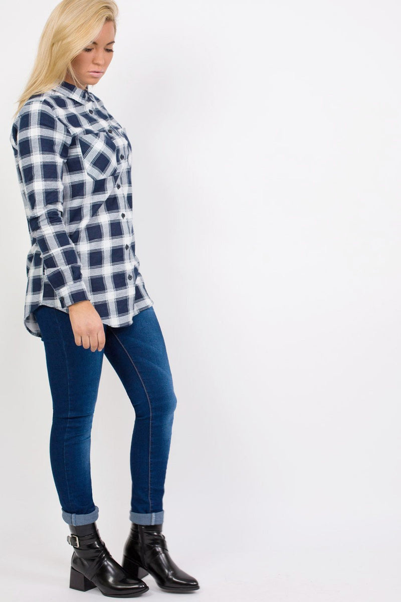 Brushed Check Shirt in Navy Blue 4