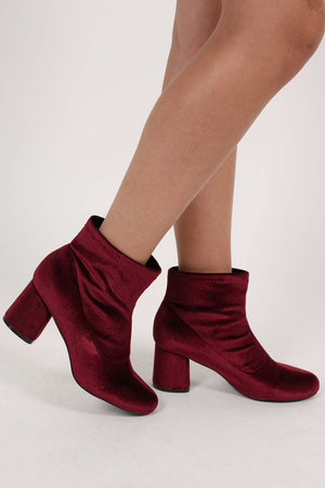 Velvet Block Heel Ankle Boots in Wine Red 1