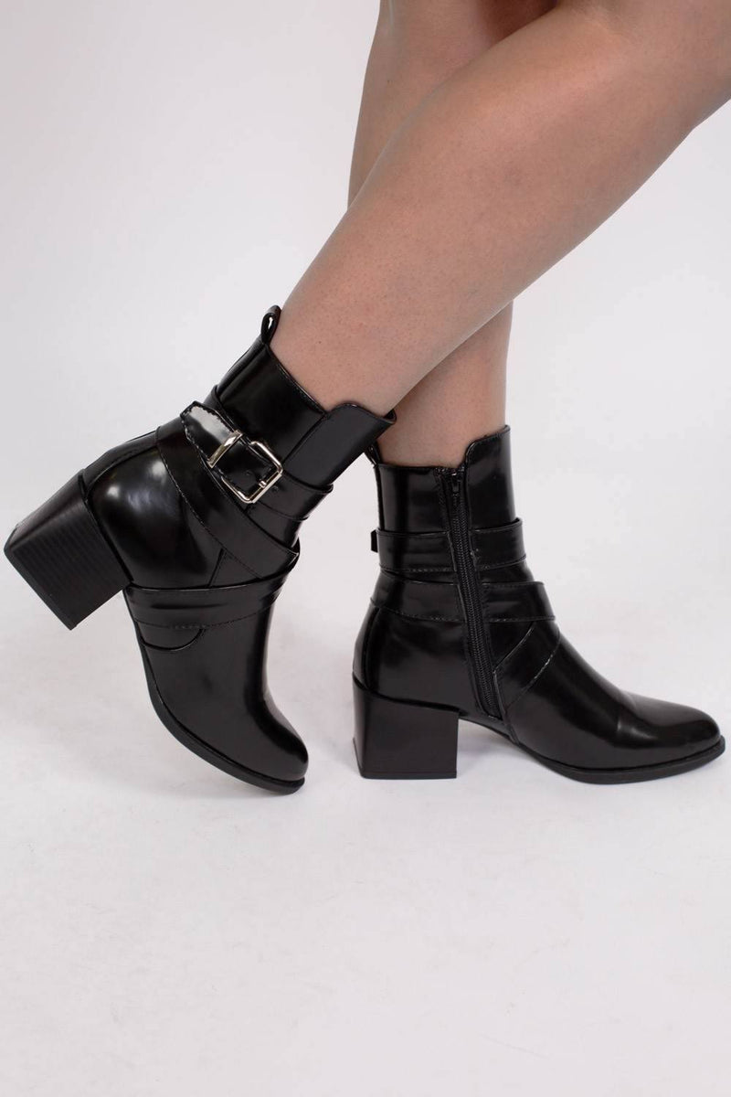 Strap And Buckle Detail Block Heel Ankle Boots in Black 1