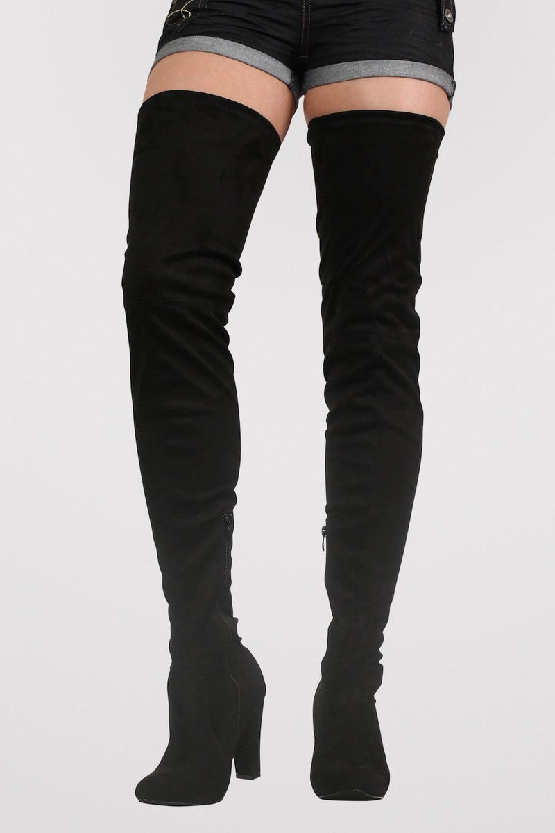 Faux Suede Over The Knee High Heel Boots in Black 0