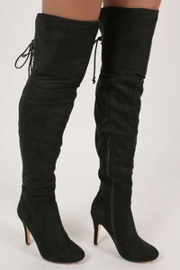 Faux Suede Over The Knee Stiletto High Heel Boots in Black 0