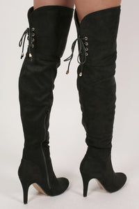 Faux Suede Over The Knee Stiletto High Heel Boots in Black 2