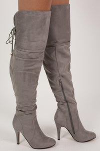Faux Suede Over The Knee Stiletto High Heel Boots in Grey 3