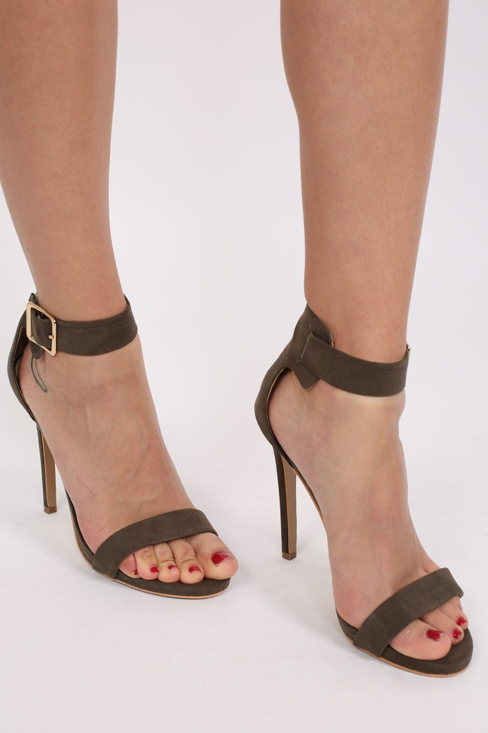 Faux Suede Strappy High Heel Sandals in Khaki Green 0
