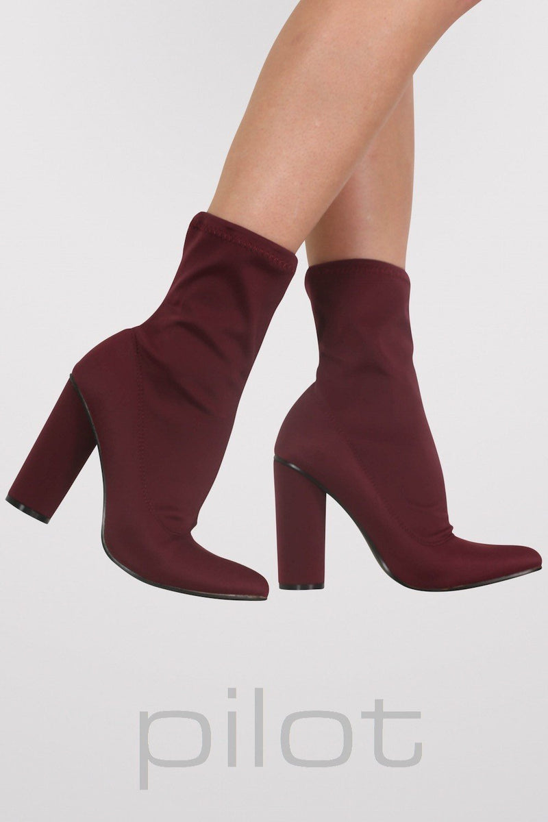 Pointed Toe Neoprene Block Heel Ankle Boots in Wine Red 1