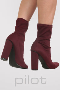 Pointed Toe Neoprene Block Heel Ankle Boots in Wine Red 2