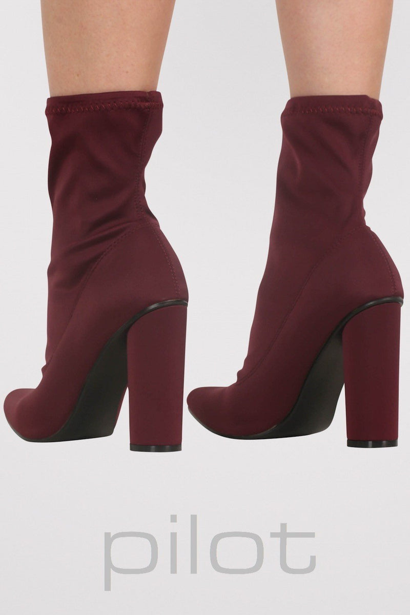 Pointed Toe Neoprene Block Heel Ankle Boots in Wine Red 3