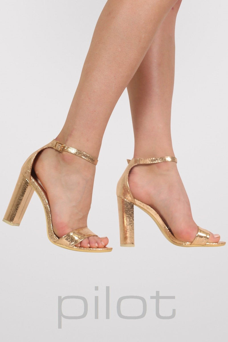 Block Heel Barely There Strappy Sandals in Rose Gold 1