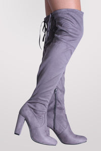 Faux Suede Block High Heel Over The Knee Boots in Grey 1