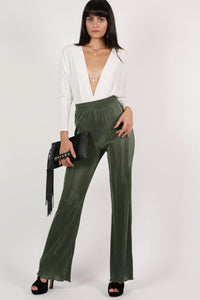 Pleated High Waisted Trousers in Khaki Green 0