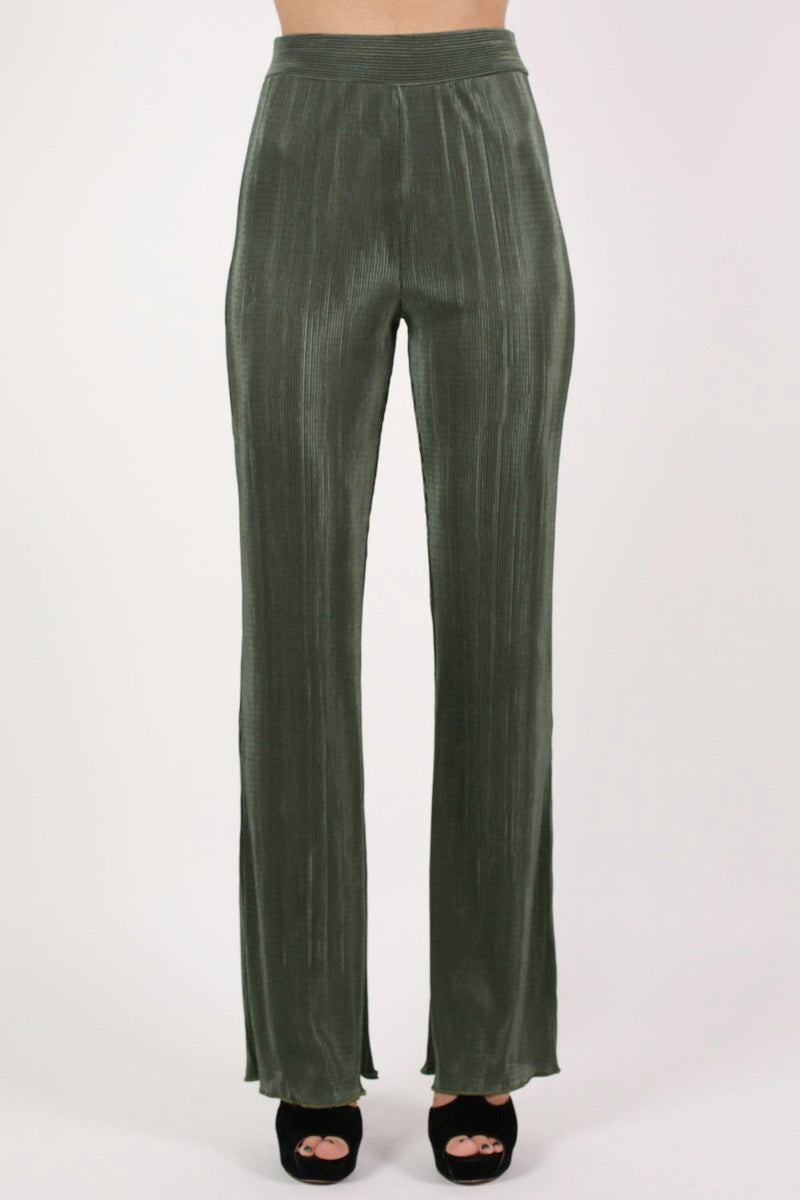 Pleated High Waisted Trousers in Khaki Green 1