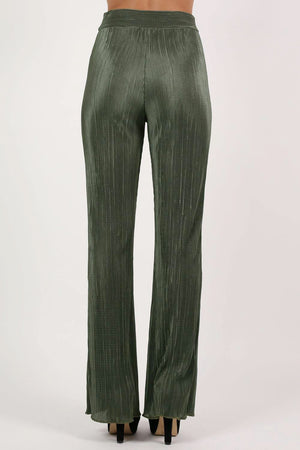 Pleated High Waisted Trousers in Khaki Green 4