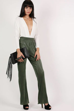 Pleated High Waisted Trousers in Khaki Green 5