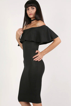 Off Shoulder Deep Frill Bodycon Midi Dress in Black 1