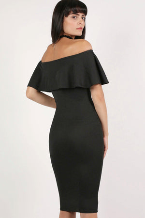 Off Shoulder Deep Frill Bodycon Midi Dress in Black 3