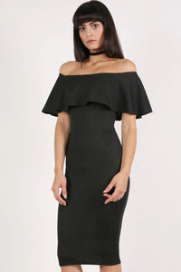 Off Shoulder Deep Frill Bodycon Midi Dress in Black 4